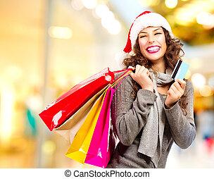 shopping., shopping, crédito, centro comercial, menina, cartão natal