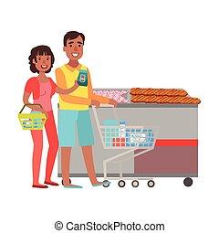 shopping, shopping drogheria, coppia, illustrazione, centro commerciale, dipartimento, sezione, negozio