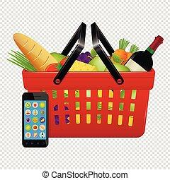 shopping., shopping, telefono, mobile, isolato, fondo., cibi, linea, cesto, trasparente