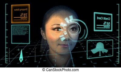 Shopping - shopping woman in futuristic heads up display