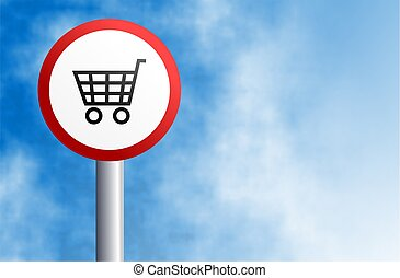 shopping sign - round street sign with shopping cart icon