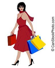 shopping, signora, colorato