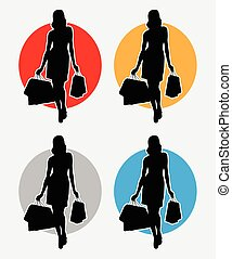 Shopping silhouette logo