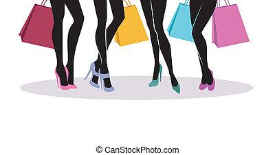shopping, silhouette, ragazze