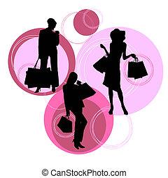 shopping, silhuetas, de, modernos, mulheres