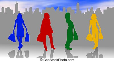 shopping, silhuetas, fêmeas