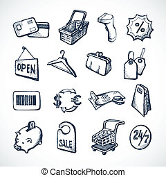 Sketch shopping icons set with plastic card money bags and tags isolated vector illustration