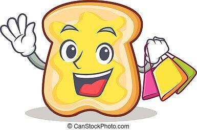 Shopping slice bread cartoon character vector art...
