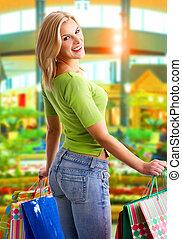 Shopping smiling woman