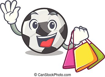 Shopping soccer ball isolated with the mascot