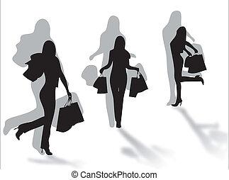 shopping, sombra, meninas