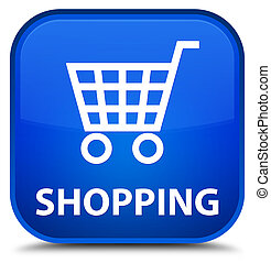 Shopping special blue square button