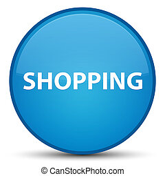 Shopping special cyan blue round button