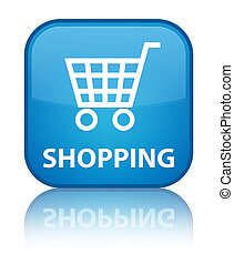 Shopping special cyan blue square button