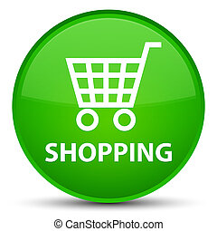 Shopping special green round button