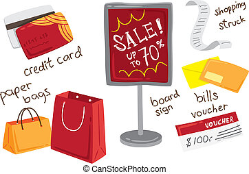 shopping spree icon doodle