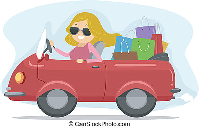 Shopping Spree - Illustration of a Girl Driving a Car Full...