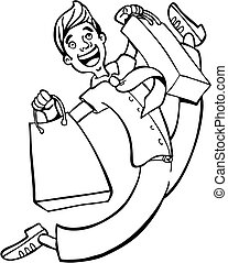 Shopping Spree Man Line Art