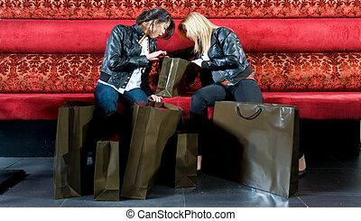 Shopping spree - Two young women looking at their newly...