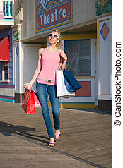 Shopping Spree - A young beautiful woman on a shopping spree