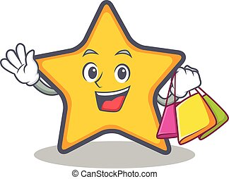Shopping star character cartoon style