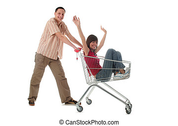 Shopping - Couple with shopping cart