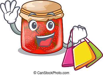 Shopping strawberry marmalade in glass jar of cartoon