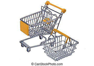Shopping streel trolley and basket with yellow mark for supermarket