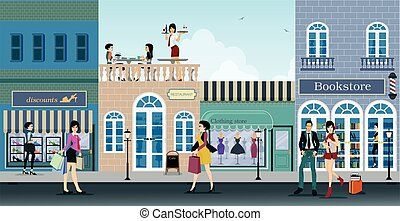 Shopping street - The city is a shopping center where people...