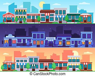 Shopping street. Small shop streets cityscape, city road with shops building and town retail store vector illustration set