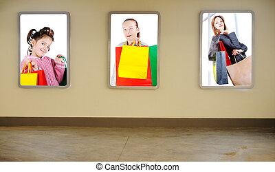 shopping, su, parete, centro commerciale, tre, collage,...