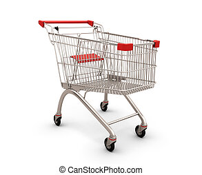 Shopping supermarket cart isolated on white background. 3d...