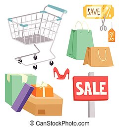 Shopping supermarket vector store shop grocery retro cartoon icons set with customers carts baskets food and commerce products illustration