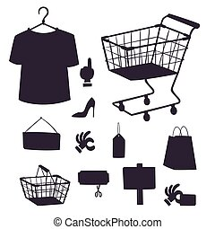 Shopping supermarket vector store shop silhouette grocery retro cartoon icons set with customers carts baskets food and commerce products illustration