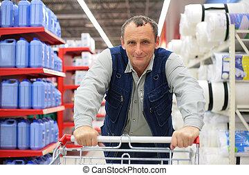 shopping, supermercato, carrello, uomo
