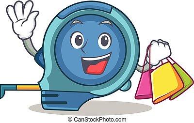 Shopping tape measure character cartoon