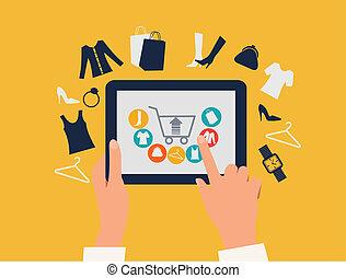 shopping, tavoletta, concept., icons., toccante, vector., mani, e-shopping
