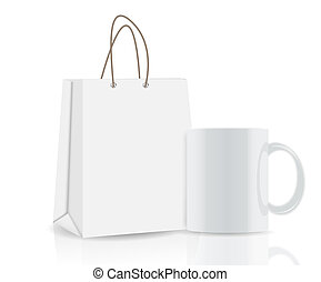 shopping, tazza, marcare caldo, illustrazione, borsa, vettore, pubblicità, vuoto