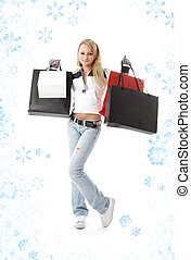 shopping teenage girl with snowflakes #2