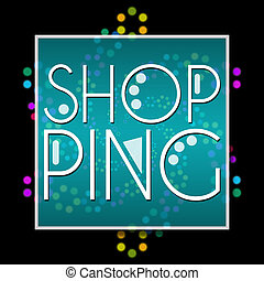 Shopping Text Black Colorful Neon
