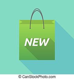shopping, texto, longo, saco, novo, sombra