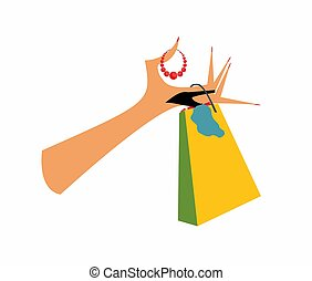 shopping, - , the composition of the hand on which is...