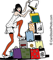 Shopping - The young girl shops