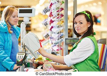 shopping., tienda, cheque, supermercado, afuera