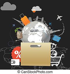 Shopping time concept. Around the world seasonal discount tour illustration