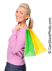 Shopping time - Full isolated portrait of a beautiful woman...