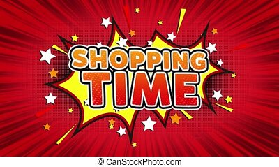 SHOPPING TIME Text Pop Art Style Expression. Retro Comic Bubble Expression Cartoon illustration, Isolated Flat Cartoon Comic Style on Green Screen