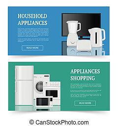 shopping., toestellen, uitrusting, items, huisgezin, realistisch, vector, elektrisch, reclame, mal, thuis, banieren, keuken