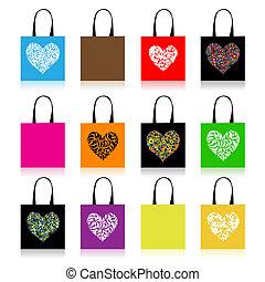 shopping torby, projektować, kwiatowy, sercowa forma