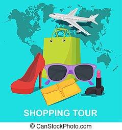 shopping tour concept, vector